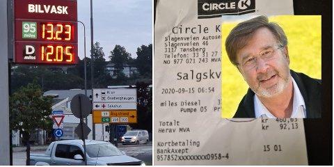 LURT: Like før klokken 07.00 tirsdag morgen fylte Roar Hansen diesel på Cirkle K i Slagenveien i Tønsberg. Han følte seg lurt av prisene.