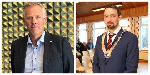 FORNØYDE: Rådmann i Alstahaug, Børge Toft, og ordfører i Dønna kommune, John Erik Skjellnes Johansen (Ap), er glad for å havne på Fagforbundets JA-liste over kommuner som har innført tiltak mot sosial dumping.