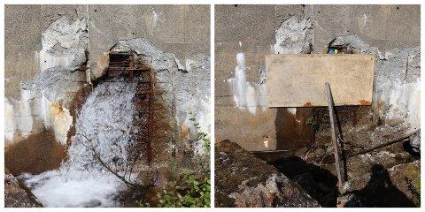 FØR OG ETTER: Bildet til venstre er tatt tirsdag da vannet fosset ut av demningen ved Simsøvatnet. På torsdag var derimot hullet tettet midlertidig og vanntapet var kraftig redusert.