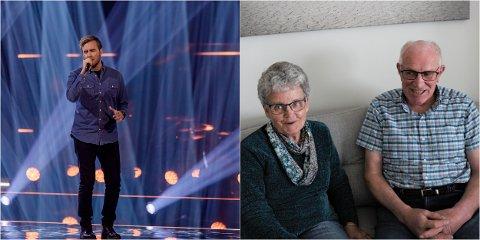HEIER FRA NÆRBØ: Erlend Gunstveit har sunget seg inn i hjertet på flere nordmenn i The Voice. Hjemme på Nærbø heier besteforeldrene Ingfrid og Jens Berg.