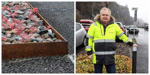 HAR ORDNET OPP: Etter at Jarlsberg skrev om stålkant-problemene i sommer, har Bane NOR Eiendom kommet fram til noe de mener er en bedre løsning. Her viser driftssjef Erik Rydén fram de nye stolpene.