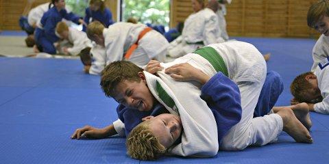 GIR DET MESTE: Den talentfulle BK-utøveren og 14-åringen Adrian Løff Witte (øverst) gir alt under årets Viking Camp på Tislegård ungdomsskole.