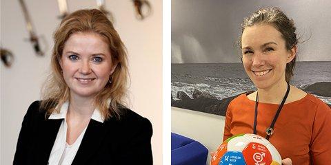 NYE DIREKTØRER: Silje Skullerud (t.v.) og Marte Ellingsen Tyldum er direktører for bærekraft i henholdsvis Kongsberg Defence & Aerospace (KDA) og Kongsberg Maritime (KM).