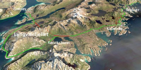 Slik ser man for seg innkorting med blant annet tunnel gjennom Lyngværfjellet. Skisse: Statens vegvesen