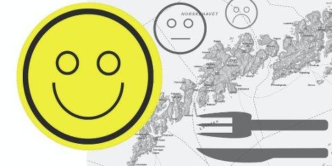Smilefjes over hele fjøla: 96 spisesteder har smilefjes i Lofoten i skrivende stund.
