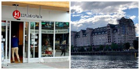 HOVEDKONTOR OG AVDELING: Til venstre: Hurtigrutens hovedkontor i Tromsø. Til høyre: Hurtigrutens avdeling i Oslo.