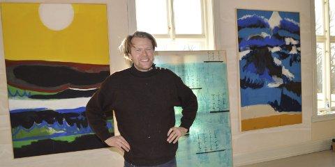 Maleri på maleri: Andreas Siqueland viser arbeider fra før, under etter reisen over Atlanterhavet. Og maleriet fortsetter utenfor rammen, for også veggene på Galleri F15 er dekket av maleri.alle foto: eva Fretheim