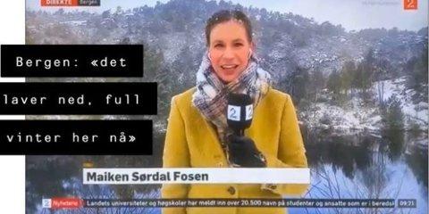 """Slik ser det ut når det """"laver ned"""" med snø i Bergen."""
