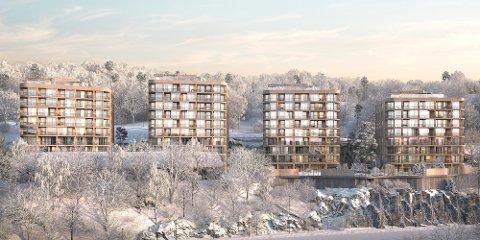 FIRE BLOKKER: I skråningen nedenfor Nordre Skøyen hovedgård skal det bygges fire høyblokker.  Illustrasjon: Birk & Co