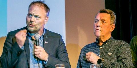 ORDFØRER-KAMP: Det ligger an til å bli kamp om ordfører-kjedet i Tromsø mellom SVs Pål Julius Skogholt (til venstre) og Aps Gunnar Wilhelmsen.