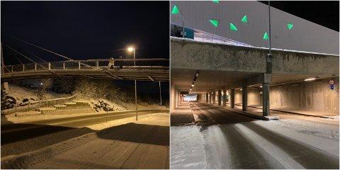 SNØ OG IS: Politiet måtte rykke ut til brua over Tverrforbindelsen og undergangen ved Jekta for å stoppe snø- og iskasting søndag.