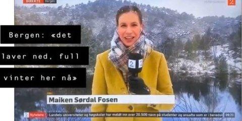 """""""LAVER NED"""" Slik ser det ut når det """"laver ned"""" med snø i Bergen. Foto: Dump fra TV2/Facebook"""