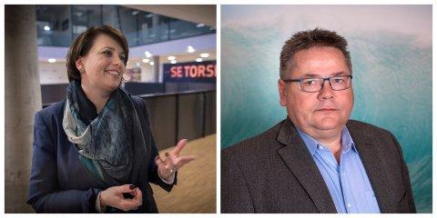 MØTE: Anne Marit Bjørnflaten er myndighetskontakt i Hurtigruten. Johnny Hansen er forbndsleder i Norges sjømannsforbund.