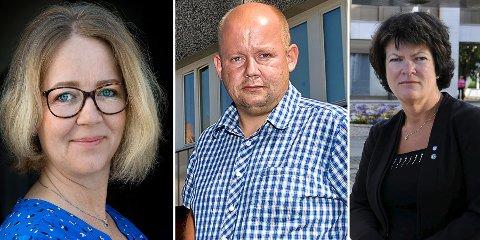 REAGERER:  Gjøvik-politikerne Anne Bjertnæs (f. v), Torvild Sveen og Christin Guldahl Madsen reagerer på at SI vurderer å avvikle BUP døgn på Gjøvik.
