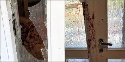 DRAMATISK: Naboene ble møtt av knuste ruter og blodsøl i fellesoppgangen dagen etter den grove voldshendelsen.