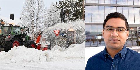 Prosjektleder i driftsseksjonen i Statens vegvesen, Mizanur Rahaman, ber folk skjerpe seg før de klager på brøytejobben som gjøres i Innlandet.