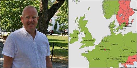 GRØNN BØLGE: 15. juli blir det karantenefri innreise til Norge fra de fleste europeiske land, noe som gleder reiselivssjef Arne Jørgen Skurdal I Visit Innlandet.