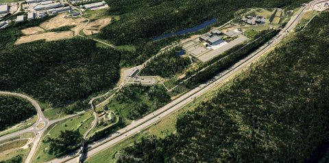 FRA SYD-ØST: Perspektivet viser hele anlegget og avstanden til industrifeltet på Sofiemyr.