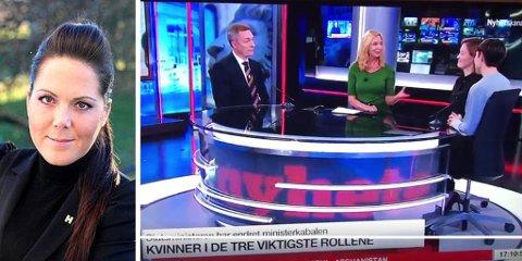 - PINLIG: Stortingspolitiker Lene Westergaard-Halle (H) mener det er pinlig at to av Norges mektigste kvinner blir spurt om venninneprat og klær under intervjuet på TV 2 Nyhetskanalen. (Foto: Wikimedia commons/skjermdump fra TV2)
