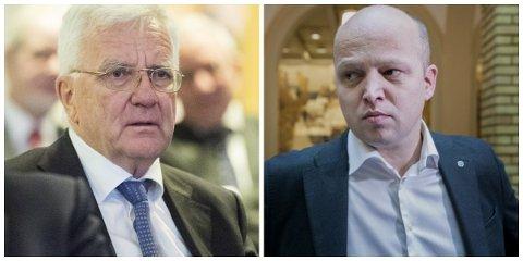 UENIGE: Trygve Hegnar og Trygve Slagsvold Vedum. Foto: Gorm Kallestad (NTB scanpix) / Jon Olav Nesvold (NTB scanpix)