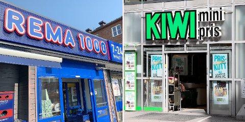 LIKE PRISER: 36 av 42 varer fra Kiwi og Rema 1000 i pristesten uke 14 har på øret lik pris.