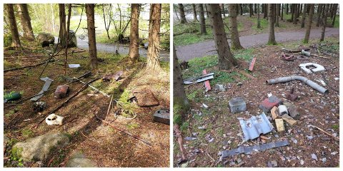 SKRAP: Bildet til venstre viser skrapet som ble dumpet i vår. Bildet til høyre viser skrapet som ble dumpet på samme sted etter at det første skrammelet var fjernet. I bakgrunnen på begge bildene: Turstien langs Brumunda.