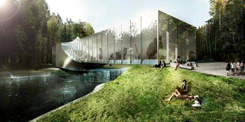 Kistefos Museum anno 2017: Slik er det nye museumsbygget tenkt ferdig i 2019.
