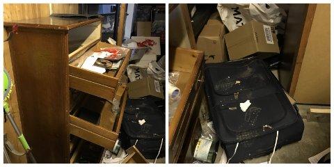 Slik så det ut inne i garasjen etter at ubudne gjester hadde vært på besøk.