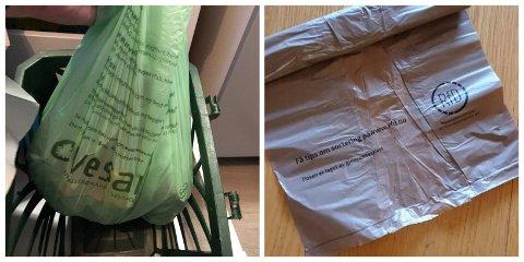 ULIKE KVALITETER: De nye matavfallsposene fra Vesar er biologisk nedbrytbare, men enkelte savner de tilsynelatende mer solide posene i gjenvunnet plast fra RfD (til høyre).