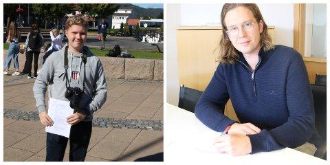 NYE PÅ LAGET: Håkon Aase Kristiansen (18, til venstre) og Oscar Eckhoff (24) har nylig underskrevet frilanskontrakt med Sande Avis.