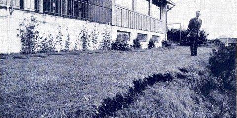 Gannsområdet på ca 60 dekar, hadde slått revner og var etter alt å dømme på vei ned og ut i Gandsfjorden.