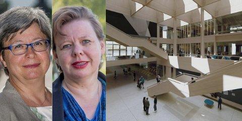 Fra venstre: Monica Gåsvatn (H), Siv Henriette Jacobsen (Ap), og hvordan den nye St. Olav kan se ut hvis den realiseres.