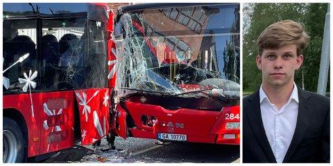 Julian Waler Navestad satt bakerst i bussen som kjørte inn i en parkert buss torsdag.