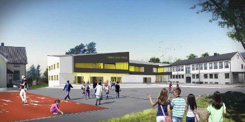 Overbygg: Man foreslår å bygge sammen framhaldsskolen og den nye skolen på Krikelund. Det vil gi bedre inneklima.