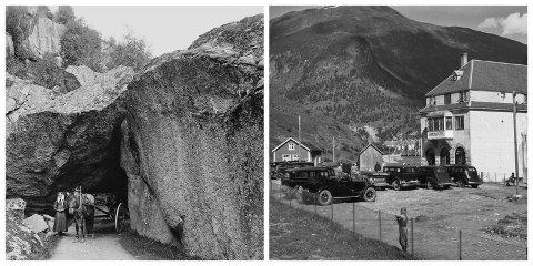 GAMLE FOTO: Til venstre er eit bilete som truleg er teke på 1800-talet, medan bilete til høgre er av ein kjend bygning. Ser du kvar dei er teke?