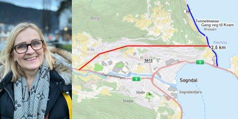 TUNNEL: Rita Navarsete (FrP) legg fram eit nytt forslag til sentrumstunnel i Sogndal.