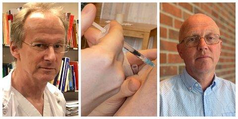 STIKK: Helge Johan Bjordal(t.v.) og Frode Myklebust held fram med å vaksinera sogningane mot covid-19.