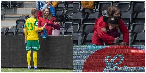 BURSDAGSGÅVE: Tirill Skåsheim (8) overrekte bursdagsgåve til Edin Øy (23) etter laurdagens kamp mellom Sogndal og Ullensaker/Kisa. Etter møtet med helten sin blei det ein varm klem til mamma Gunhild Skåsheim.