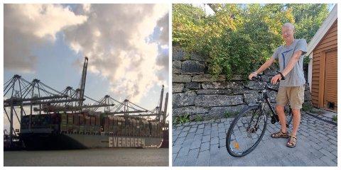 TOLMOD: Kan hende sykkelen hans er på det gigantiske lasteskipet, kan henda ikkje. Carlo Aall smører seg med tolmod og syklar manuelt så lenge.
