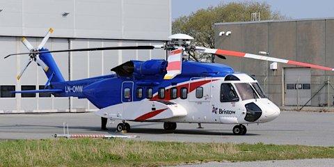 Det var et helikopter av typen Sikorsky S-92 som meldte om problemer tirsdag kveld. Bildet er tatt i en annen sammenheng. (Illustrasjonsfoto)