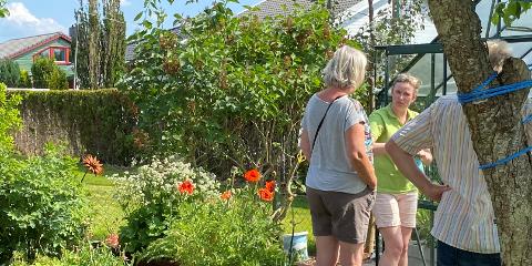 Marian Oline Evensen (t.h.) deler gjerne hageråd med seg.