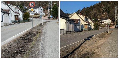 FØR OG ETTER: Slik så det ut før og etter at kommunen så seg nødt til å grave grøfta dypere, for å hindre at biler kjørte over som en snarvei hjem.