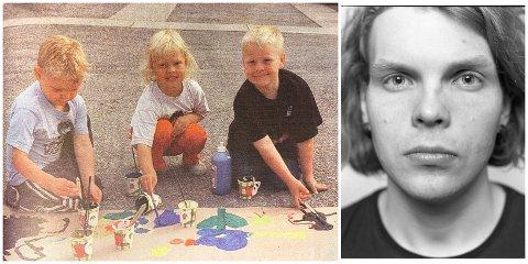 FØR OG NÅ: For 20 år siden malte Asgeir Bakka (24) storm og pokemon på torget med Anja Landsverk og Tobias Bakka. I 2020 har Asgeir ikke lagt ned malekosten, og har vunnet pris for kunsten sin. (Venstre foto: Sverre Stordal. Høyre foto: Daniel Peter Augang)