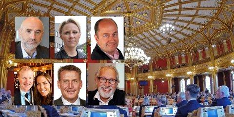 NYE OPPGAVER: Fra venstre: Dag Terje Andersen (Ap), leder kontroll- og konstitusjonskomiteen, Maria-Karine Aasen-Svensrud (Ap), justiskomiteen, Morten Stordalen (FrP), transportkomiteen, Erlend Larsen (H), Helse- og omsorgskomité, Lene Westgaard-Halle (H), Energi- og miljøkomité, Kårstein Løvaas Eidem (H), Næringskomité og Carl Erik Grimstad (V), Helse- og omsorgskomité. Foto: Erlend Larsen, Lene Westgaard-Halle og arkiv