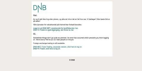 DATATRØBBEL: DNB hadde på ny problemer med nettbanken.