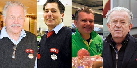 GODE INNTEKTER: Robert Christiansen (Meny Teie), Martin Gran (Meny Revetal), Kenneth Normann Eriksen (flere Kiwi-butikker) og Jan Magne Borgen (Meny Stokke og Meny Jarlsberg).
