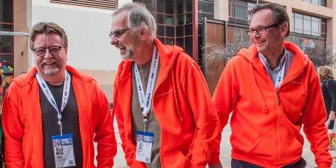 SATSER HØYT: Nøtterøy-firmaet The Woohoo Company gjør seg klar for å innta USA, og mener selv at de har potensialet til å bli det nye Kahoot, som allerede er godt etablert i statene. Her fra venstre: Svein Fagereng, Sverre Bautz og Rune Roberg, som alle var med å starte selskapet i 1987.