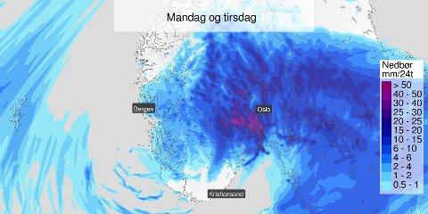 Det neste døgnet blir vått, men i høyereliggende strøk er det kong vinter som gjør seg gjeldene med snøvær.