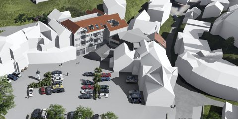 Sett ovenfra: Slik er den nye bebyggelsen som blant annet skal gi plass til 13 leiligheter tenkt utformet. Prosjektet innebærer også større næringsarealer og en parkeringskjeller for de nye boligene. Illustrasjon: Job Arkitekter AS