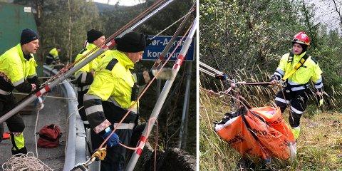 Bagnskleiva: Nord-Aurdal brannvesen bistod Aksjon Aqua og brukte ryddeaksjonen i Bagnskleiva som en treningsøkt for klatregruppa gjennom to dager denne høsten.
